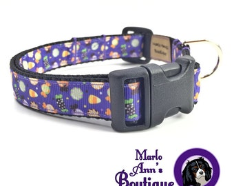 Dog Collar / Halloween Dog Collar / Purple Dog Collar / Candy / Halloween Candy / Dog Collar and Leash / Adjustable Dog Collar / Fall
