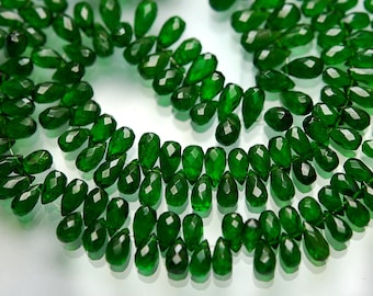 20 Beads,Natural Chrome Diopside Faceted Drops,Size 6-8mm