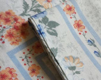 pair set of 2 vintage 1970s  french floral pillowcases, blue peach french linens french bedroom children's room
