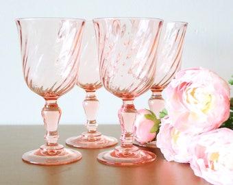 Pink Glass Wine Glasses 8oz, Set Of 4, Pink Drinking Glasses, Wine Glasses Bridesmaid, Pink Glassware, Wine Glasses, Vintage Glassware