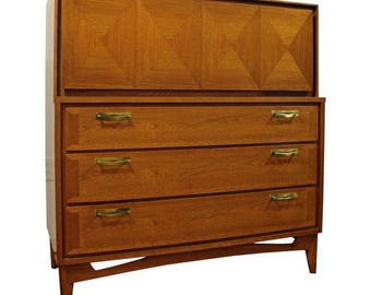 Mid-Century Danish Modern Parquet Front Diamond Tall Chest Dresser #18