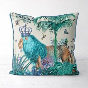 Lion Pillow cover blue pillow cover blue decor jungle pillow tropical decor lion cushion jungle cushion tropical pillow blue room decor kids