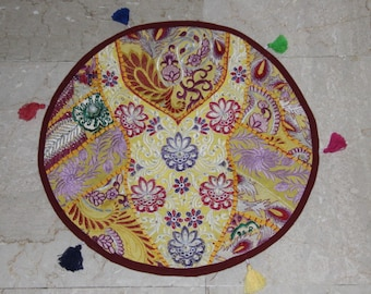 Yellow and round patchwork cushion cover, old embroidery