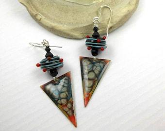 Handmade lampwork bead earrings, ooak lampwork earrings, artisan earrings, dangle earrings, triangle earrings