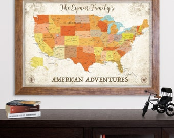 Us map etsy personalized push pin map of united states of america wall art push pin us map canvas print us travel map print push pin usa map print gumiabroncs Image collections
