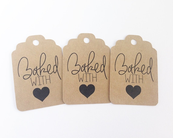 Kraft Baked with Love Gift Tags - 2.25X1.5 inch - Favor Tags. Christmas Gift Tags. Baking Supplies. Homemade Baking Supplies.