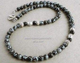 Mens Beaded Necklace, Snowflake Obsidian, Black Onyx, Gemstone Handmade Jewelry for Men, Guys, Dads