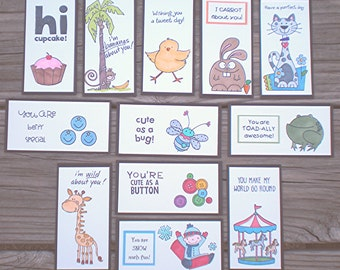 Series 9a Lunch Box Love Notes , Lunch Notes for Kids, Lunch Box Notes