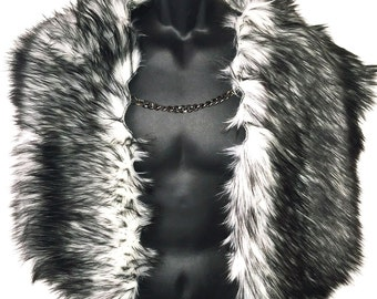 Faux Fur Shrug Fake Fur Cape with stylish chain closure by Luv Warrior