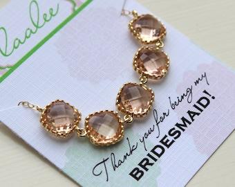 Gold Peach Blush Necklace - Bridesmaid Gift Pink Wedding Jewelry - Champagne Blush Bridesmaid Necklace Gold Pink Blush Jewelry Gift under 35
