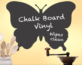 Chalkboard Decal: Butterfly Wall Decal, Kitchen Wall Decal Decor, Blackboard, Chalk Board, Kitchen Decor, Kids Playroom Decal