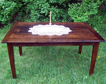 "60"" Wormy Chestnut Farm Table with Extension"