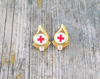 Vintage Gallon Blood Donor Pins Tie Tacks American Red Cross Girl Scouts 1970s