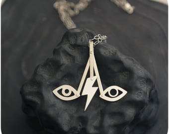 David's Eyes kinetic necklace - David Bowie tribute riveted sterling silver lightning bolt eyes pendant