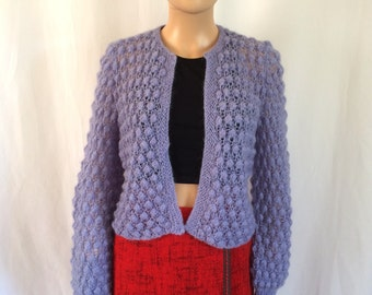 1960s Knit Mohair Lavender Cropped Cardigan Sz. M