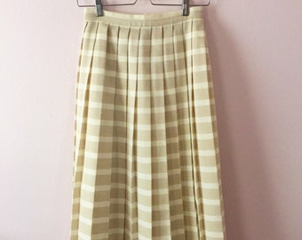 REDUCED 1980s 80s Pleated Midi Skirt | Womens Pleated Skirt | XS S