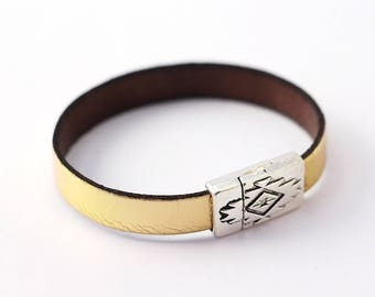 Gold Leather Aztec magnetic Bracelet - woman Christmas gift