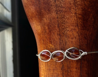 Sterling Silver Hessonite Garnet Cuff/Bangle