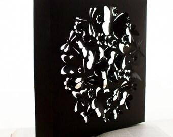 Paper Art Sculpture - Wall hanging Art with light - Butterflies Dragonflies Flowers - Made to Order