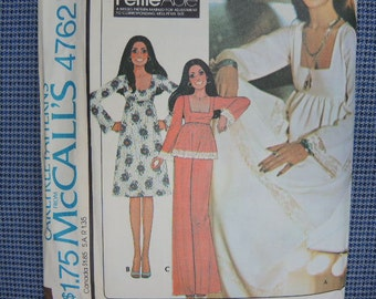 vintage 1970s McCalls sewing pattern 4762 misses dress or top and pants size 12