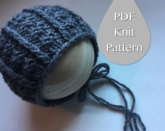 PDF Knit Pattern #0036 The Ashton Knit Bonnet, Newborn, Knit PDF Pattern,Tutorial,Knit Pattern,Easy,Video,Instruction,Newborn,Beginner