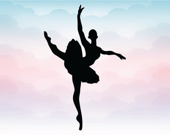 Ballet dancer silhouette, SVG Pdf, Ai, Dxf, Eps, Png files for cutting, Ballet designs for cameo cricut crafts