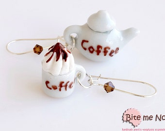 Polymer Clay Jewelry Ceramic Coffee, Pottery Set Earrings, Kidney Earrings, Mini Food, Polymer clay Sweets, Miniature Food, Foodie Gift