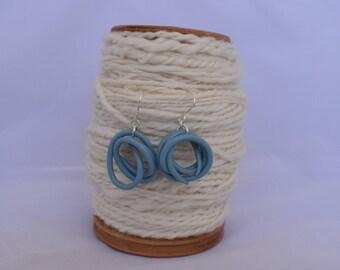 Blue Knitting needle earrings, vintage knitting needle dangle earrings, quirky earrings handmade from vintage knitting needles