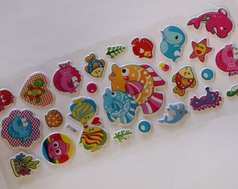 sheet of 25 fish scrapbooking stickers