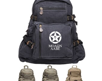 Molon Labe Punisher with Skulls Sport Heavyweight Canvas Backpack Bag