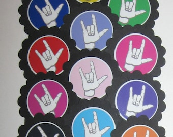 Sign Language I Love You Cupcake Toppers/Party Picks   Item #930