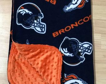 Broncos baby blanket - Denver stroller blanket - lightweight nap time blanket - snuggle blanket- super soft  blanket - cute cuddle blanket