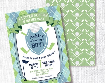Golf Boy Baby Shower Invitation, Printable, Golft Invite,  Par-Tee, Sip And See, Sprinkle, Preppy,  Little Putter Is on the Way