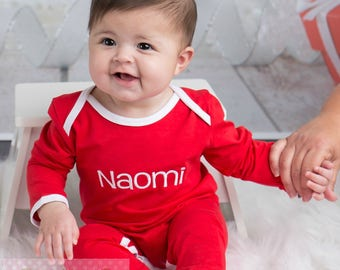 Girl Or Boy Christmas Pajamas - Embroidered Red Pajamas - Personalized Custom Name -- Red And White - Newborn Infant Full Piece Romper