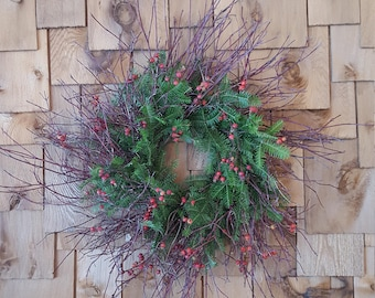 Fresh Red Willow with Balsam Fir and Rose Hips Rustic Christmas Wreath