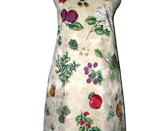 Full Winter-Themed Apron Fruit Pine Cones Flowers Berries Baking Cooking Reversible