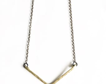 Hammered Brass V Necklace