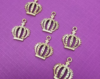 3 Crown Charms, Crown Charm, Crown Pendant, Crown Pendants, Crown Jewelry, Princess Crown Charm, Queen Crown Charm, Gold Crown Charm, Crowns