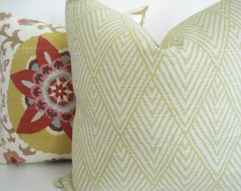 Lacefield Tahitian Stitch Lemongrass -  Both Sides-- Decorative Designer Cover - Citron- Ivory /  Grey  Throw / Lumbar Pillows