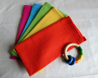 Pack of 5 handmade organic rainbow muslin squares organic cotton burp cloth baby bib pink orange yellow green blue multipack muslins