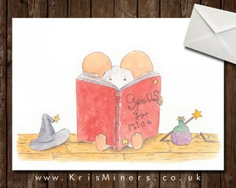 Whimsical Witchy Halloween Greetings Card - Spells for Mice