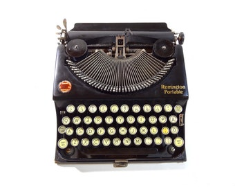 Vintage Typewriter / 1920s Remington Standard Number 1 Portable Manual Typewriter with Original Case