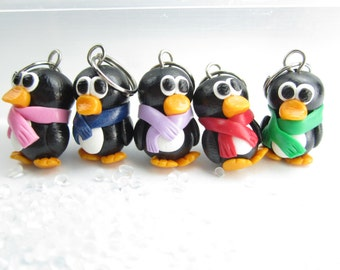 Cute Penguin Knitting Stitch Markers (Set of 5) polymer clay penguin charms knit, knitting accessories, gift for knitters, penguin pendant