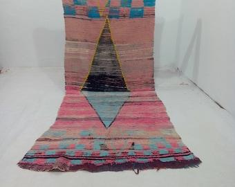 "Moroccan vintage berber rug''azilal rug""tapis marocain''teppich 250x102 cm"