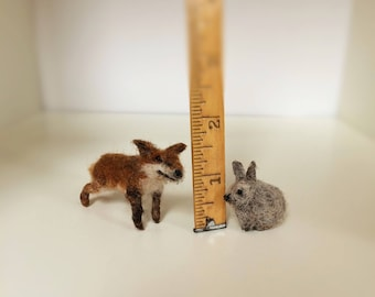Miniture needle felted fox and rabbit....lets be friends