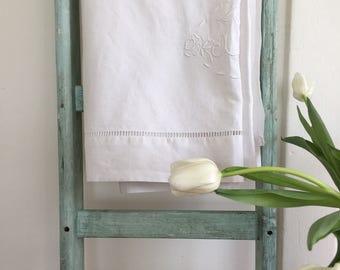 Vintage French linen sheet with embroider JF