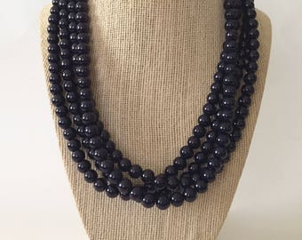 Midnight Blue Chunky Statement Necklace