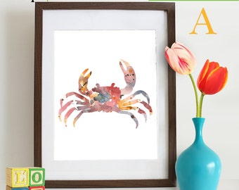 INSTANT DOWNLOAD - Watercolor Crab Print, Watercolor silhouettes, Sea Life, Beach theme, Nursery Print, Under the Sea, Item  WC002