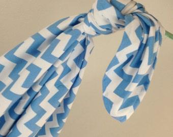 Riley Blake Medium Blue Chevron Baby Swaddling Blanket--LARGE