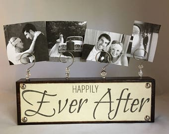 Happily Ever After Wedding Photo / Picture Holder Display newlywed Christmas Gift